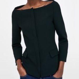 NWOT Zara bateau neckline black blazer